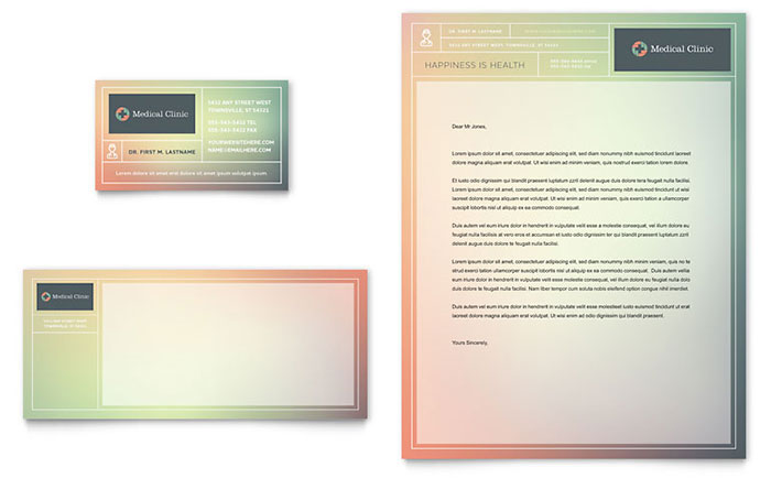 Medical Clinic Business Card & Letterhead Template - Word & Publisher