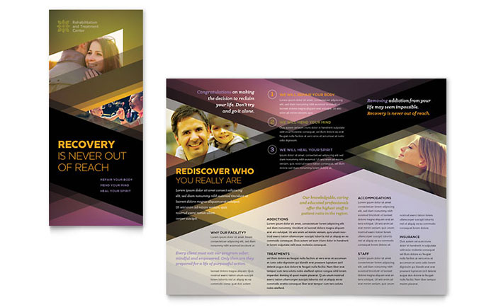 Rehab Center Tri Fold Brochure Template - Word & Publisher
