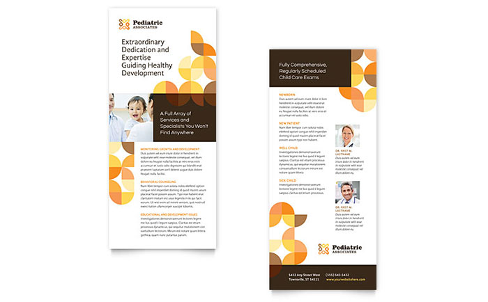 Pediatric Doctor Rack Card Template Download - Word & Publisher - Microsoft Office