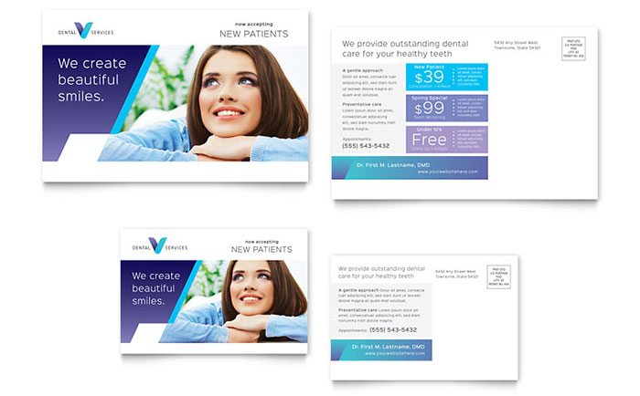 dentist postcard template word publisher