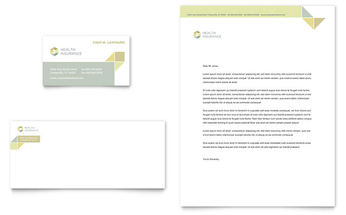 Health Insurance Business Card & Letterhead Template - Word & Publisher