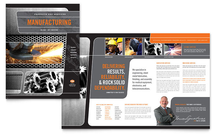 Manufacturing Engineering Brochure Template Word Publisher - Company brochure templates free download