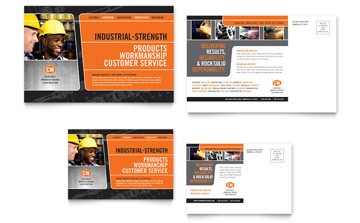 Manufacturing engineering postcard template word publisher for Engineering brochure templates free download