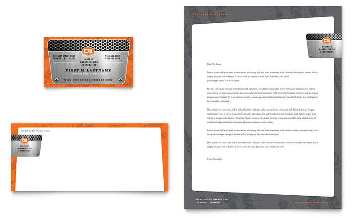 manufacturing engineering business card  u0026 letterhead
