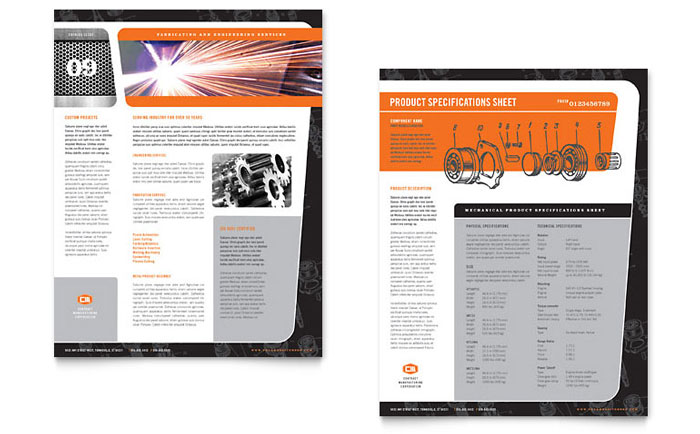 Manufacturing Engineering Datasheet Template - Word & Publisher