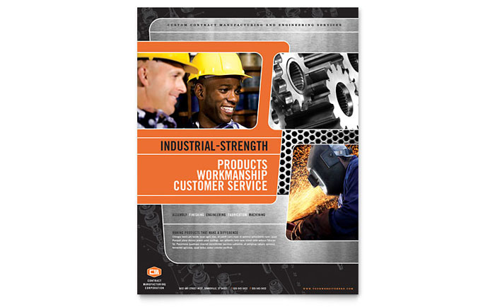 Manufacturing Engineering Flyer Template Download - Word & Publisher - Microsoft Office