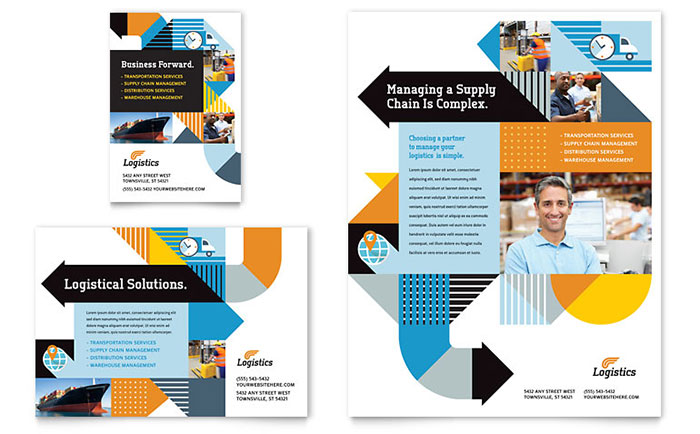 Logistics & Warehousing Flyer & Ad Template Download - Word & Publisher - Microsoft Office