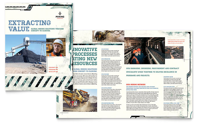 Mining Company Brochure Template Download - Word & Publisher - Microsoft Office
