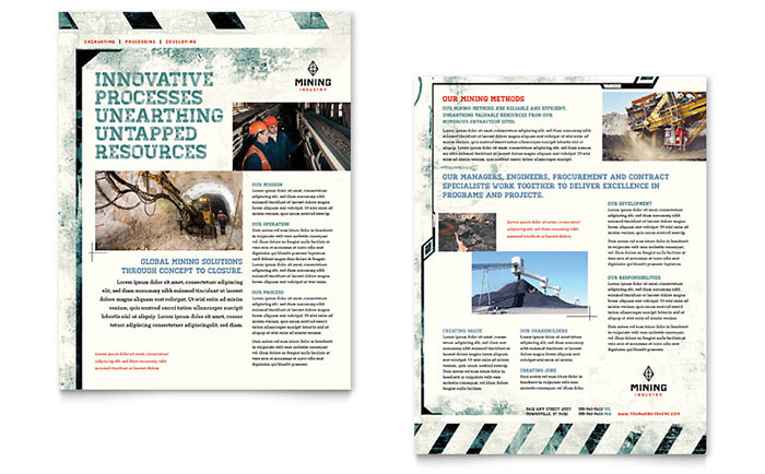 Mining Company Datasheet Template - Word & Publisher