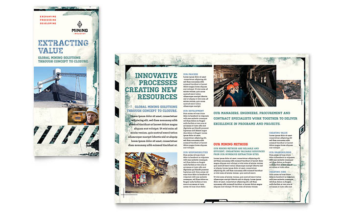 Mining Company Tri Fold Brochure Template Download - Word & Publisher - Microsoft Office