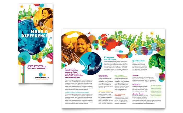 Youth Program Tri Fold Brochure Template Word Publisher - Tri fold school brochure template