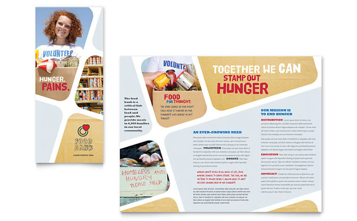 Food Bank Volunteer Brochure Template Word Publisher - Food brochure templates