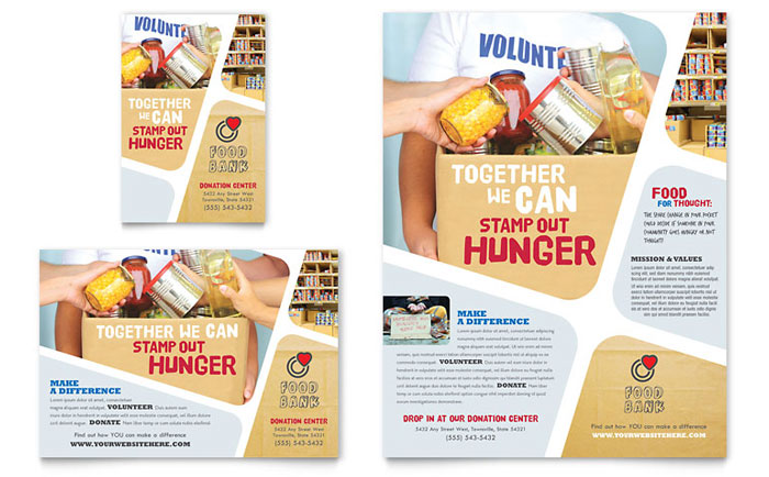 Food Bank Volunteer Flyer Ad Template Word Publisher - Library brochure templates