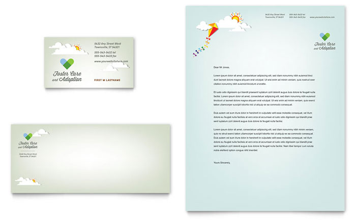 Foster Care & Adoption Business Card & Letterhead Template - Word & Publisher