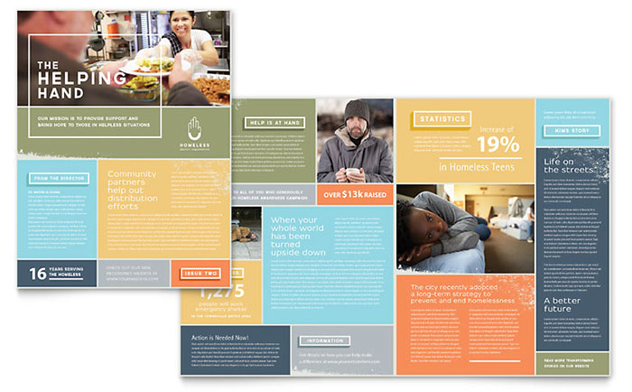 Homeless Shelter Newsletter Template  Word  Publisher