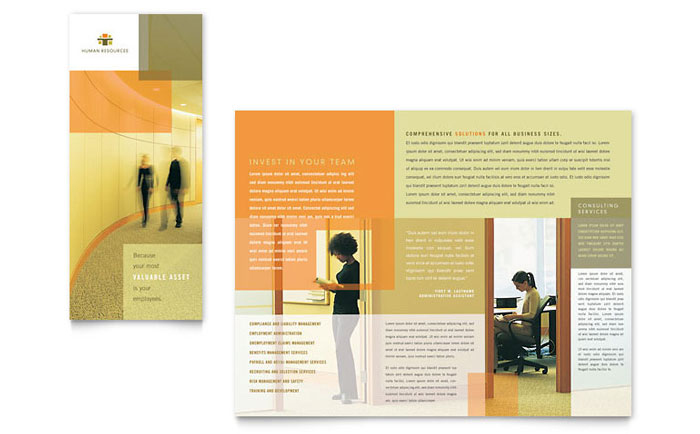 hr consulting tri fold brochure template word publisher