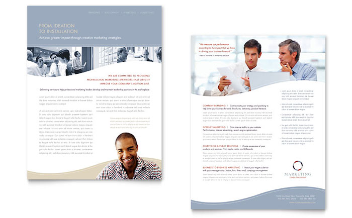 Marketing Consulting Group Datasheet Template - Word & Publisher