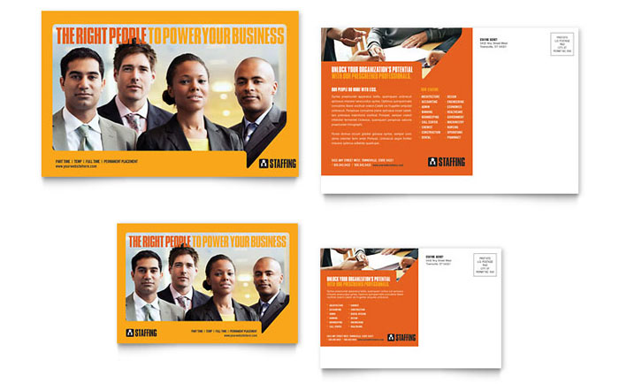 Staffing Recruitment Agency Postcard Template Word Publisher