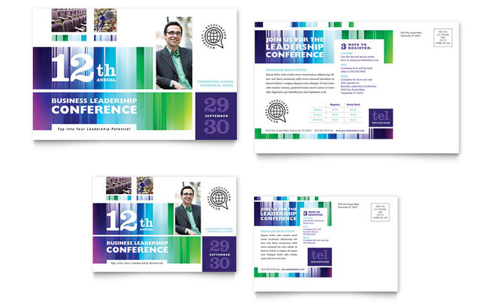 6x4 postcard template - business leadership conference postcard template word