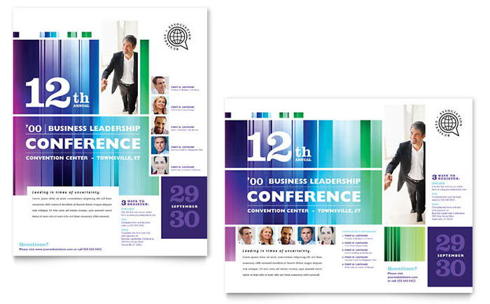 Business Leadership Conference Poster Template - Word & Publisher