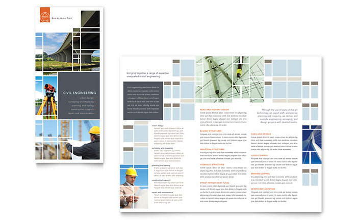 Civil engineers tri fold brochure template word publisher for Word brochure template tri fold