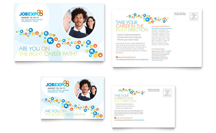 Job expo career fair postcard template word publisher accmission Choice Image