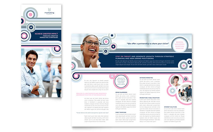 Marketing agency tri fold brochure template word publisher for Marketing brochure templates free