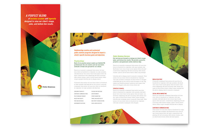 Public relations company tri fold brochure template word for Publisher template brochure