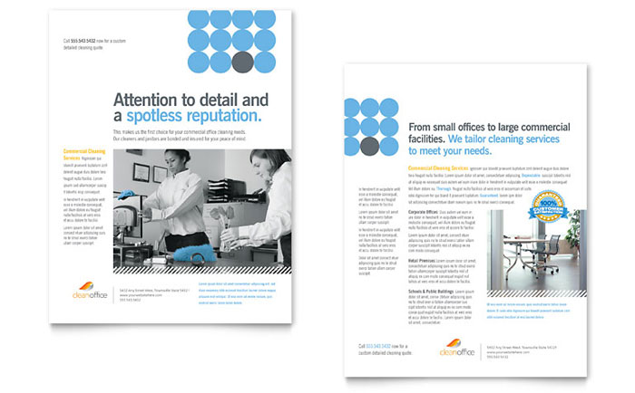 cleaning service brochure templates - janitorial office cleaning datasheet template word