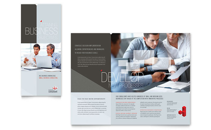 Corporate business tri fold brochure template word for Tri fold business brochure template