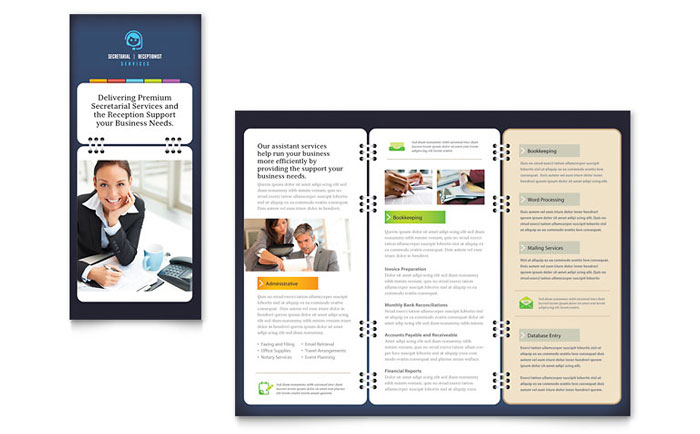 Secretarial services tri fold brochure template word for Templates for brochures microsoft word