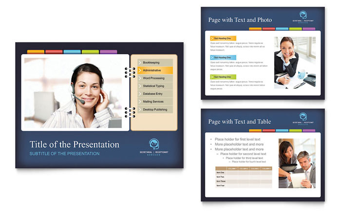Secretarial Services PowerPoint Presentation Template Download - Microsoft Office