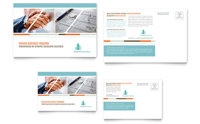 Management Consulting Postcard Template - Word & Publisher