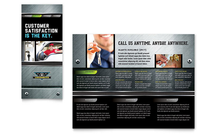 Locksmith Brochure Template - Word & Publisher