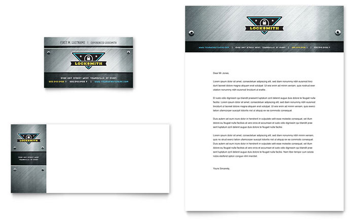 Locksmith Business Card & Letterhead Template - Word & Publisher