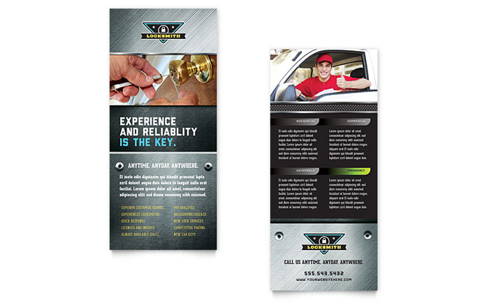 Locksmith Rack Card Template  Word  Publisher