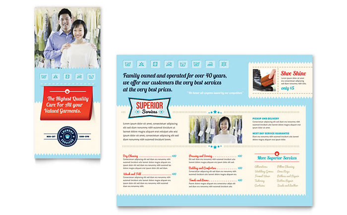 Laundry services brochure template word publisher for Brochure design services