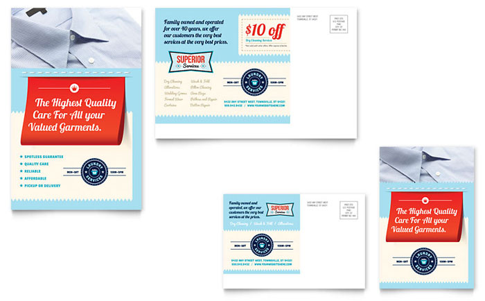Laundry Services Postcard Template - Word & Publisher