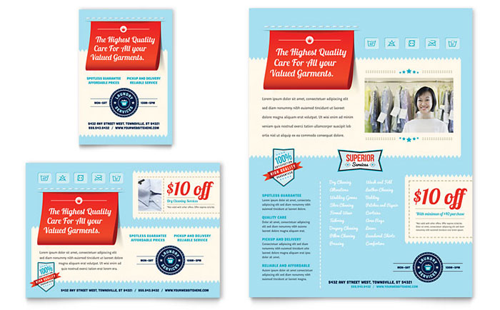 laundry services flyer ad template word publisher