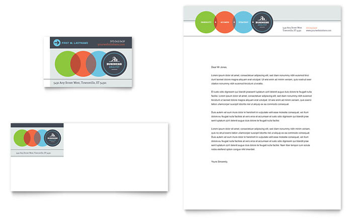 Business Analyst Business Card & Letterhead Template - Word & Publisher