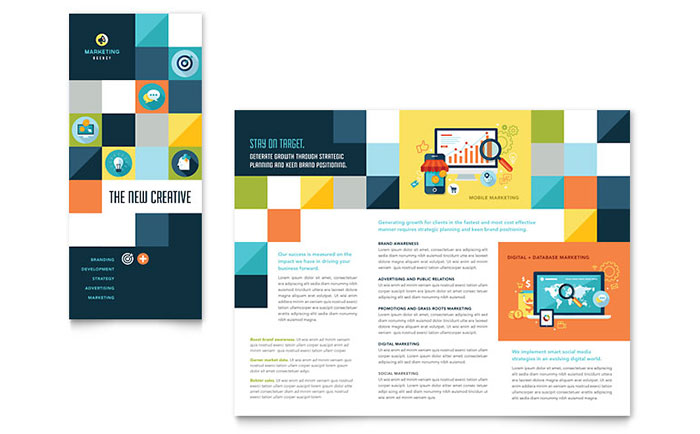 Advertising company tri fold brochure template word for Word tri fold brochure template