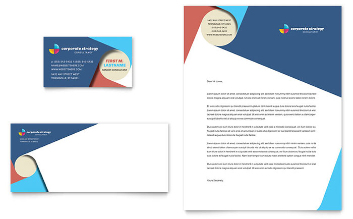 Corporate Strategy Business Card & Letterhead Template - Word & Publisher