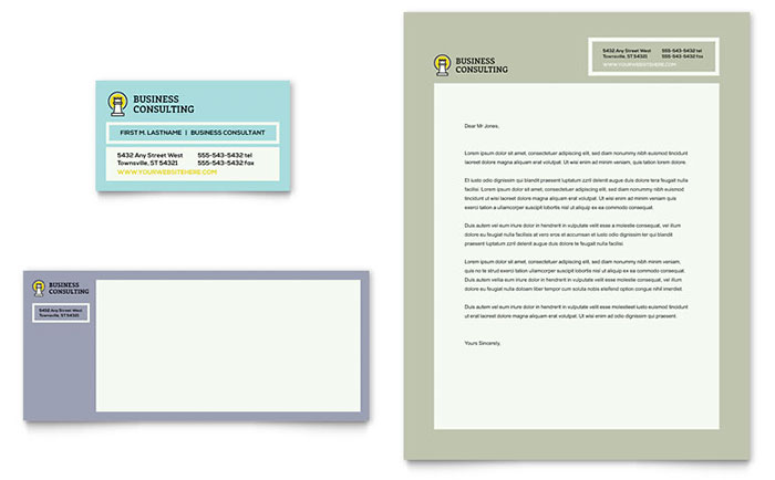 Business Consultants Business Card & Letterhead Template - Word & Publisher