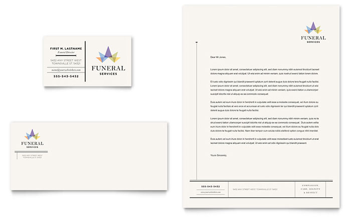 Funeral Services Business Card & Letterhead Template - Word & Publisher