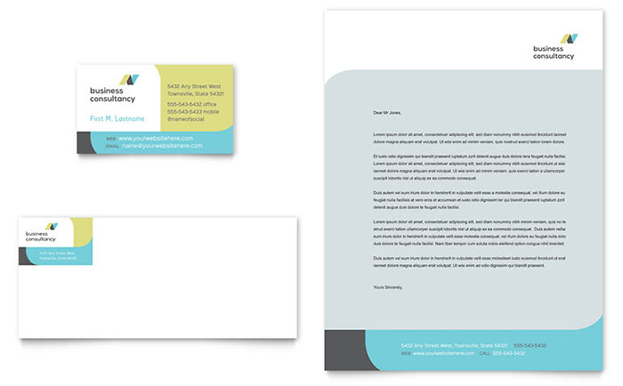 Small Business Consultant Business Card & Letterhead Template - Word & Publisher