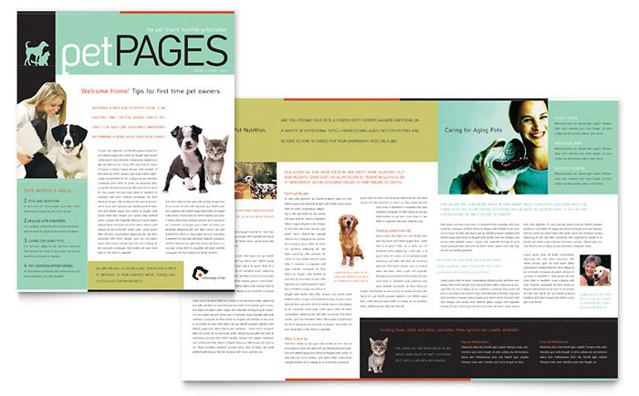 Veterinary Clinic Newsletter Template Word Publisher - Newsletter format template