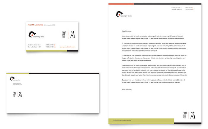 Veterinary Clinic Business Card & Letterhead Template - Word & Publisher
