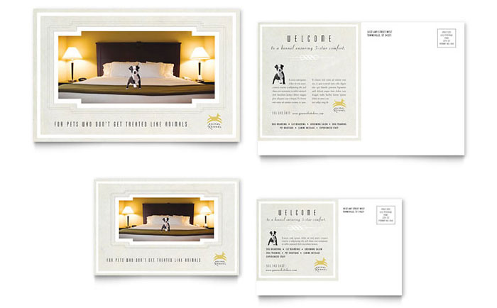 pet hotel  u0026 spa postcard template