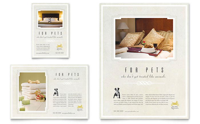 Pet hotel spa flyer ad template word publisher for Hotel brochure templates free download