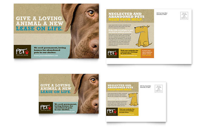 Animal Shelter & Pet Adoption Postcard Template - Word & Publisher